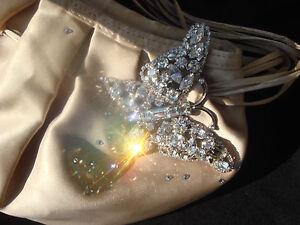 beige Champagne soirᄄᆭe avec cristal de sac cristaux de de Magnifique en satin deQxWCBor