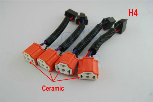 "4pcs 7/""in Headlight H4 Ceramic High Heat Light Bulb Wiring Harness Socket Plugs"