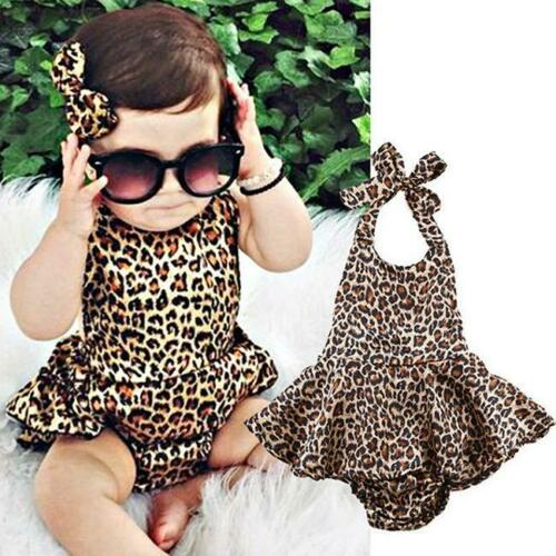 Kids Children Leopard Print Romper Infant Baby Backless Floral Romper Jumps C