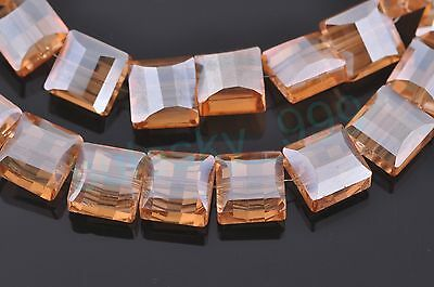 50pcs Charms So Cute Flat Cube Square Faceted Crystal Finding Spacer Beads 9x6mm