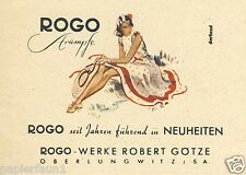 Rogo Stümpfe Oberlungwitz Reklame 1942 Götze Nylons Strumphose Kleid Sommerhut