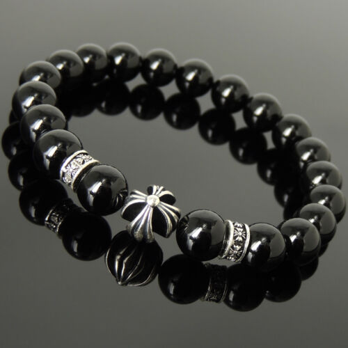 Black Onyx Gemstone Prayer Bracelet 925 Sterling Silver Cross Charms 10mm Beads