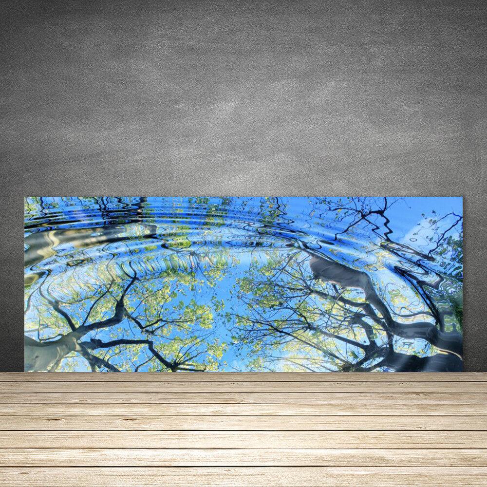 Crédence de cuisine en verre Panneau 125x50 Art Eau Arbres