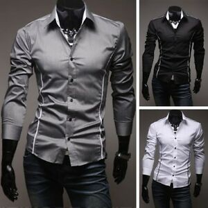Slim-Da-Uomo-Casual-Manica-Lunga-Impuntura-Camicie-Camicie-In-Forma-T-shirt-Top