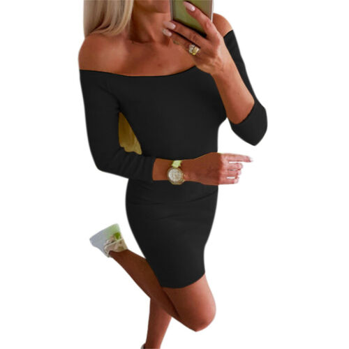 Womens Off the Shoulder Fluorescent Dresses Party Cocktail Bodycon Mini Dress