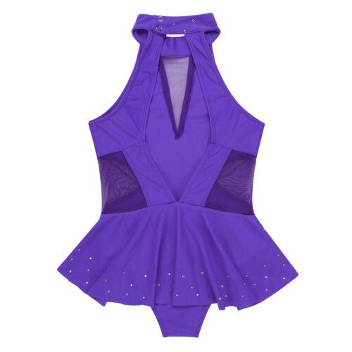 Girls Rhinestone Ballet Dress Sequined Modern Dancewear Performing Gymnastics