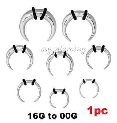 Black Titanium IP Steel Buffalo Taper Stretcher with O-Rings Ears /& Septum 1pc