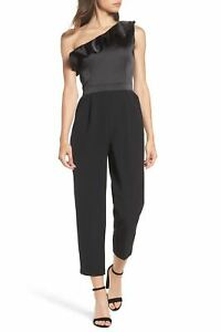 Shoulder New Jumpsuit Crepe Maggy One Black Nordstrom 6 158 Satin Size London FxwYtwrqO