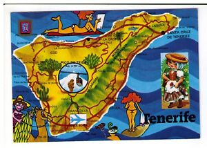 Map Of Spain Tenerife.Details About Postcard Illustrated Map Tenerife Spain