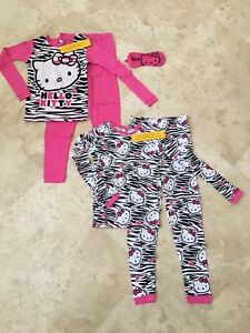 NEW-Hello-Kitty-Girls-Cotton-Pajama-Set-2-Pairs-with-Sleep-Mask-Pink-Size-10