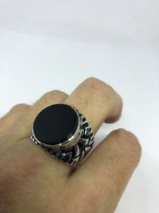 Vintage-925-Sterling-Silver-Real-Black-Onyx-Egyptian-Size-9-Ring