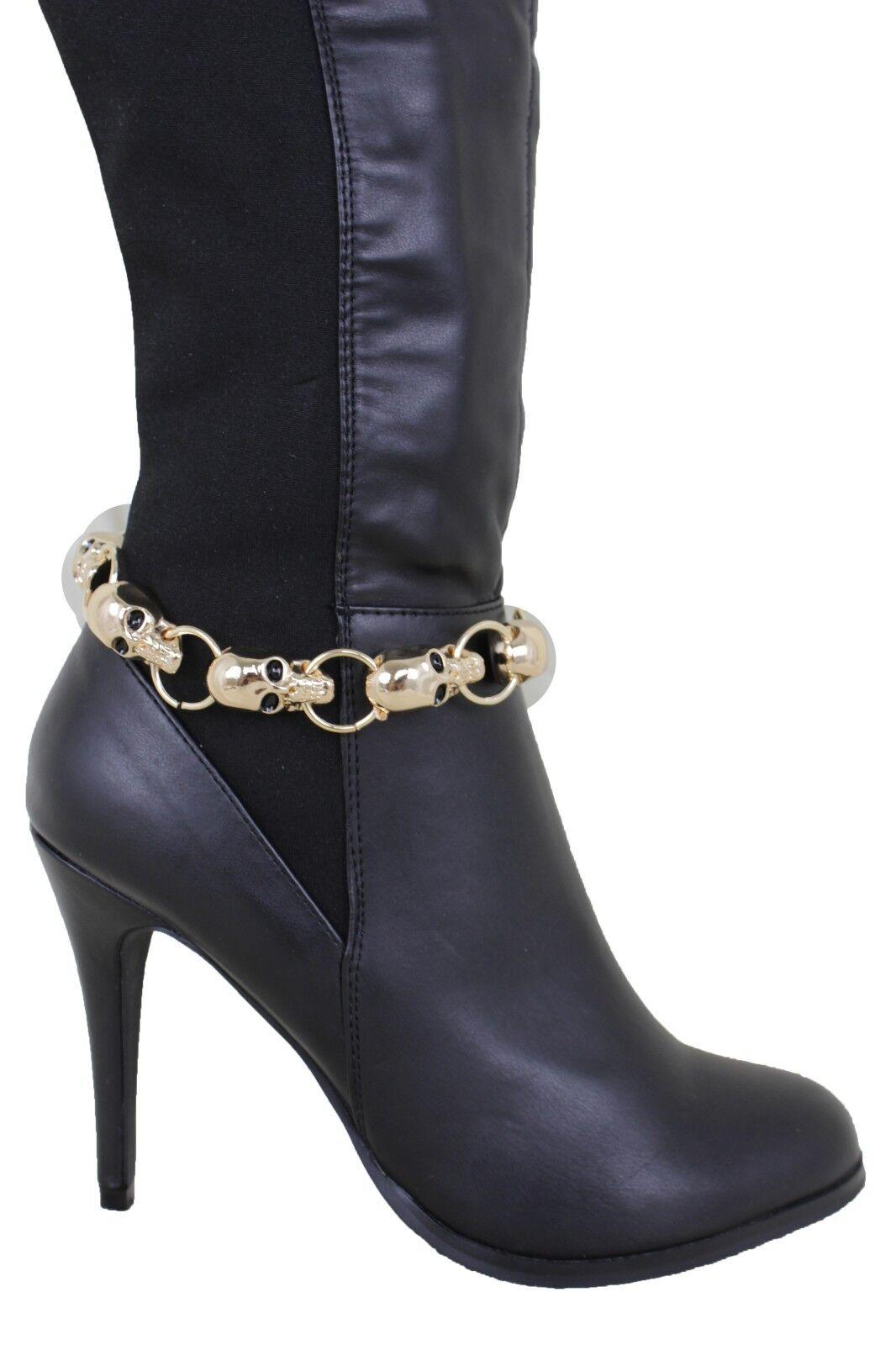 Women Fashion Gold Metal Chain Boot Bracelet Shoe Pirate Halloween Skull Charms