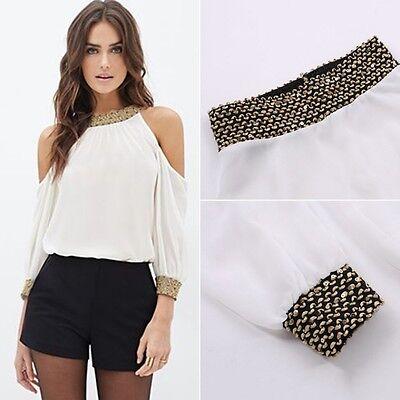Women Ladies Off Shoulder Chiffon Blouse Long Sleeve Casual Shirts Tops S-XL