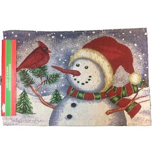 image is loading holiday christmas snowman tapestry placemat winter cardinal wall
