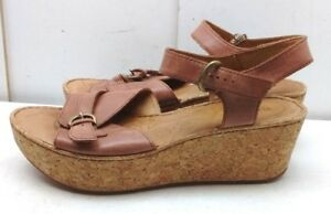 baf815bc53e61 BOC Born Concepts Women s Brown Leather Slingback Cork Wedge Sandals ...