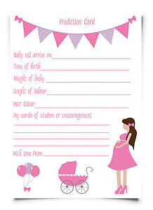 baby shower prediction cards party game baby girl pink x 10 pink ebay