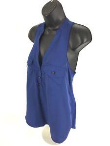 Rock-Republic-Blue-Sleeveless-Hi-Lo-Shirt-Womens-S-Small-Popover-Top-Blouse