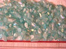 Aqua Aura quartz crystal drilled for necklace/pendant 1/2-1 inch 15 piece
