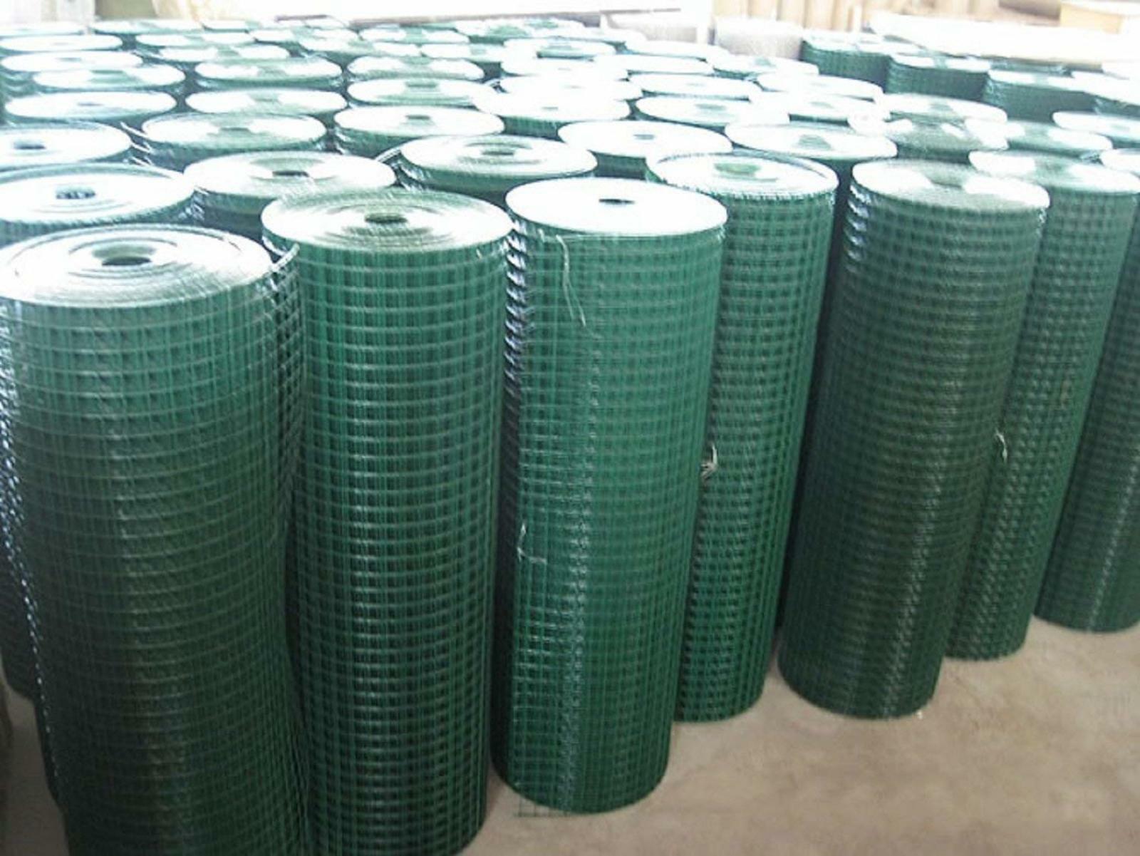 Soldada de Malla de Alambre 0.9m X 25m verde PVC COATED ESGRIMA DE ACERO 25mm calibre 17 Hoyos