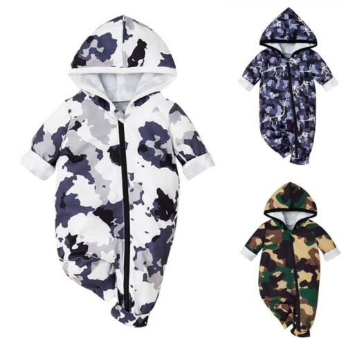 Details about  /Newborn Baby Boy Girl Camouflage Hooded Romper Zip Up Jumpsuit Outfits Clothes