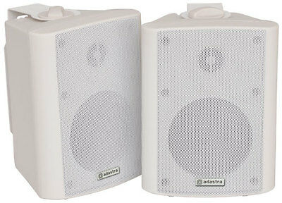 Pair White 70W Stereo Compact Background Corner Wall Speakers + Brackets 100.901