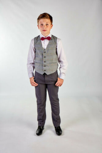 Boys Suits Boys Wedding Suit Check Waistcoat Suit Page Boy Baby Formal Party Bow