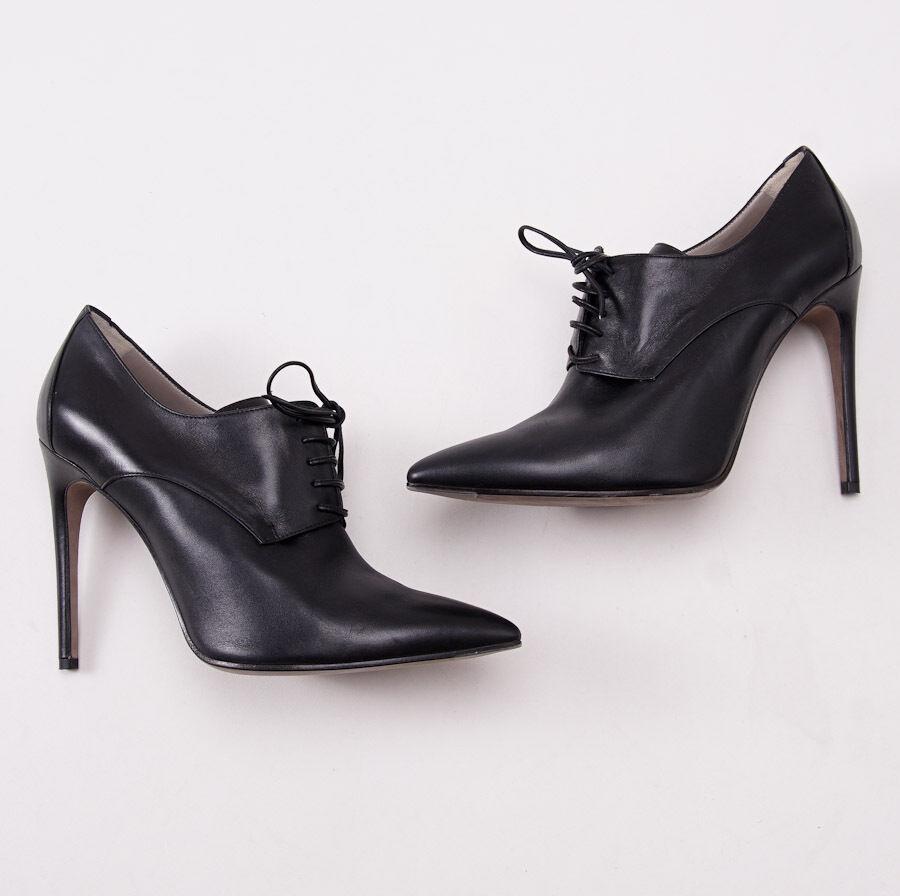 NIB  1360 KITON Black Calf Leather Stiletto Heel Bootie US 9 (Eu 40) shoes