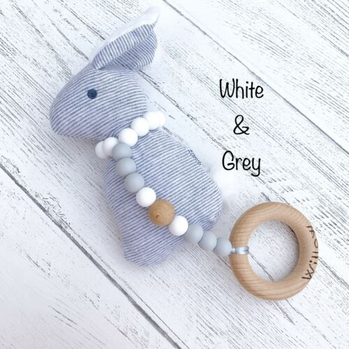 Personalised Teether Silicone Teething Toy ChristeningBaby Shower Rattle