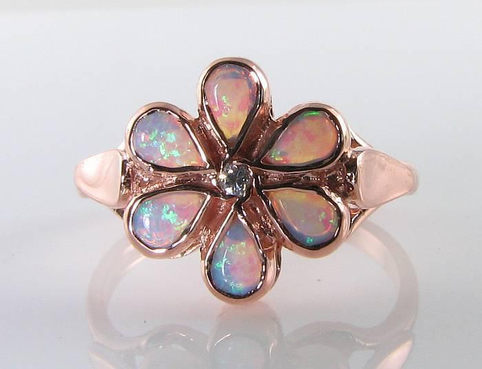 LARGE 9K 9CT pink gold OPAL DIAMOND DAISY FLOWER ART DECO INS RING FREE RESIZE