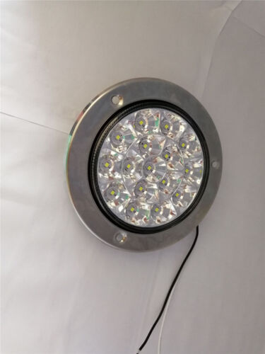 16-LED Round Clear Lens White Truck Tail //Back-up Reverse Lamps Waterproof 2Pcs