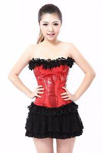 d733fe79a4 Image is loading Lady-Burlesque-Costume-Corset-Basque-Cincher-Lingerie- Bustier-