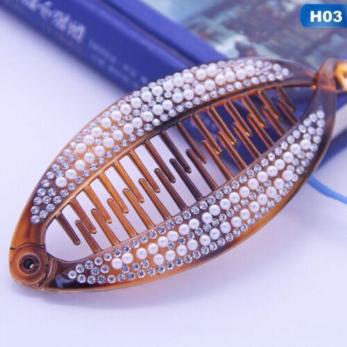 1*Women Banana Clip Women Crystal Hair Clip Ponytail Hairpin Headwear Bar Re