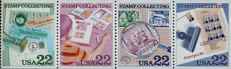1986 22c Stamp Collecting, Ameripex, Pane of 4 Scott 21