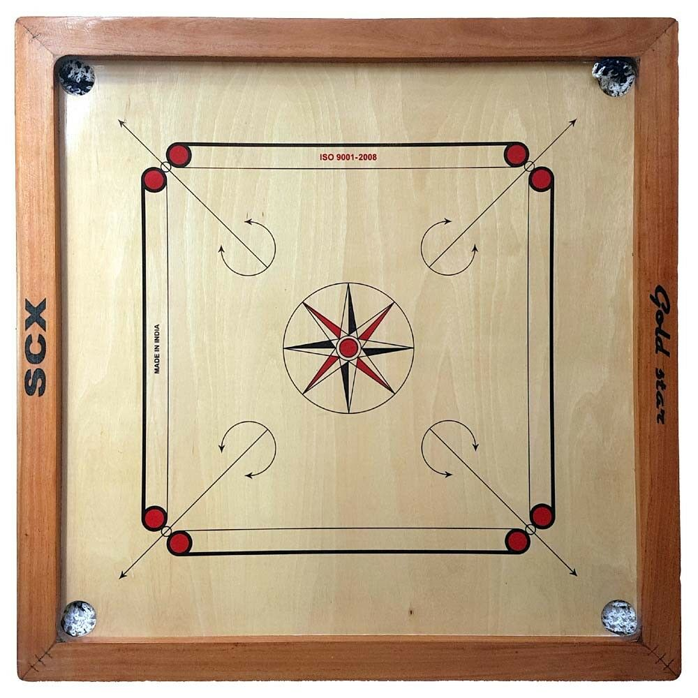 CARROM BOARD GAME FULL SIZE WITH WITH WITH WOOD COINS + STRIKER gold STAR CHU_00626 a7b910