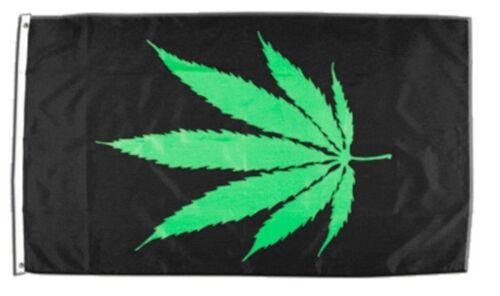 Fahne Cannabis schwarz Flagge  Hissflagge 90x150cm