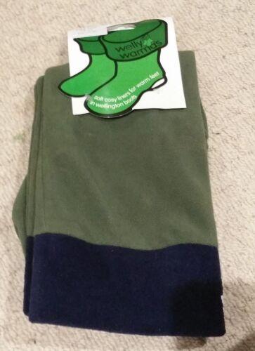 SALE * Tall Green Fleece Adults Boot Socks with Navy Cuff Welly Warmas