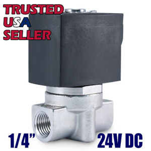 """1/4"""" SS 24V DC Stainless Steel Electric Solenoid Valve Water Air Gas 24 Volt VDC"""