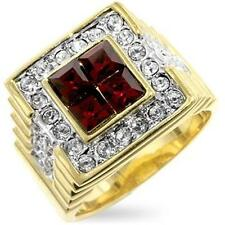 14K GOLD EP 5.0CT CZ RUBY MENS DRESS RING size 10 or T 1/2