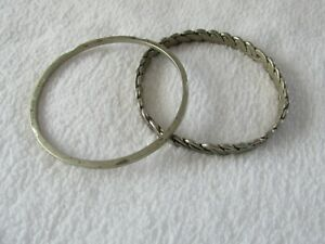 2-Two-Vintage-925-Sterling-Silver-Bangle-Bracelets-TAXCO-Braided-Thin-Stacking