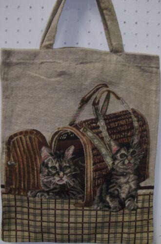 Katzen Tasche Kätzchen Gobelin  Einkaufsbeutel Beutel Tapestry Katzen im Kasten