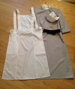WWII-WW2-Nurse-Uniform-grey-dress-white-apron-black-belt-hat-size-4-30