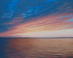 Original Acrylic Painting Cloudy Ocean Sunset 24x30 Seascape by Timothy Stanford