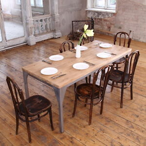The Iron Contemporary Pine Wood Steel Industrial Dining Table ...