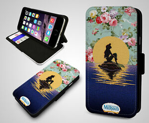 uk availability eab72 6dcf4 Details about The Little Mermaid Disney Ariel Floral Pattern Leather Wallet  Phone Case Cover