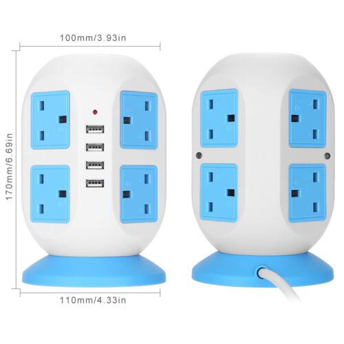 Tower Electric Mains Power Extension Lead 8 Socket 4 USB Port Adaptor Plug 3M UK