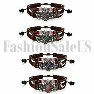 Vintage-Womens-Lady-Ethnic-Flower-Multilayer-Leather-Tribal-Beaded-Cuff-Bracelet