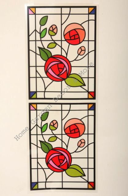 2 VICTORIAN SCROLL STAINED GLASS EFFECT WINDOW CLINGS