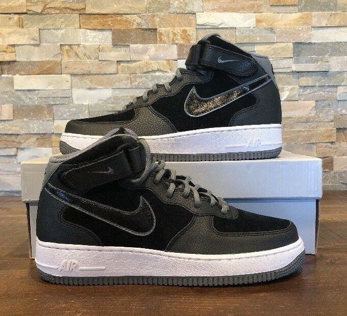 NEW Nike Women's Air Force 1 '07 Mid Suede Black Grey 807448 001