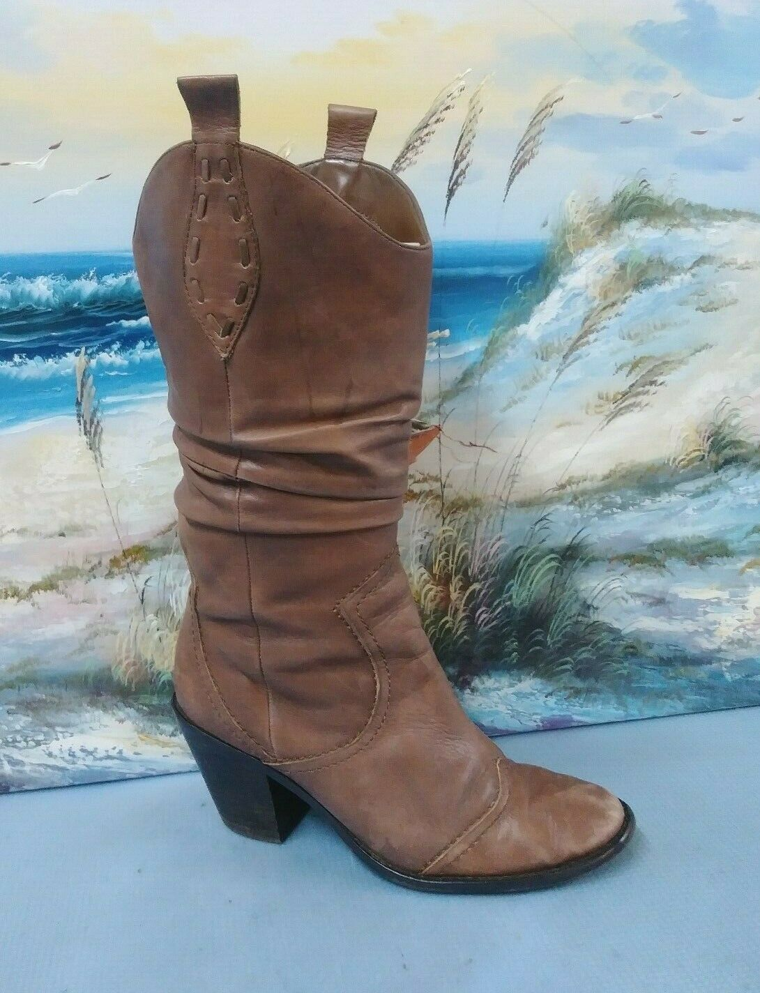 3448898924f4e BCBGENERATION Slouch Cowboy Boot Boot Boot Leather Womens shoes Sz ...