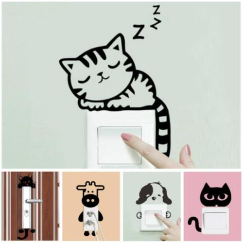 DIY Black Funny Cat Switch Stickers Cute Wall Decals Bedroom Parlor Decor FM